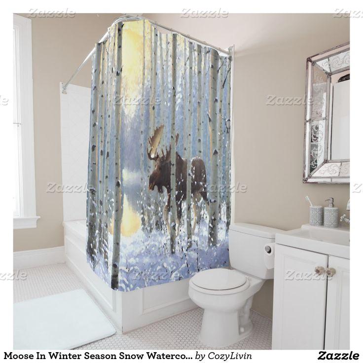 Shower curtains moose motif - Moose In Winter Season Snow Watercolor Shower Curtain Ornate Elegant