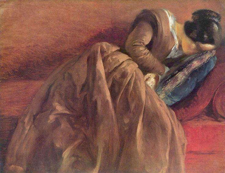Emilie, sleeping (artist's sister) - Adolf FriedrichE. von Menzel German 1815-1905 Oil on paper mounted on canvas Kunsthalle Hamburg, Germany