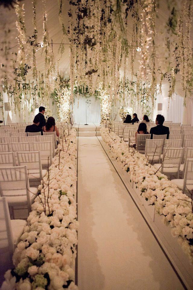 White Floral Ceremony Aisle and Ceiling with Hanging Flowers