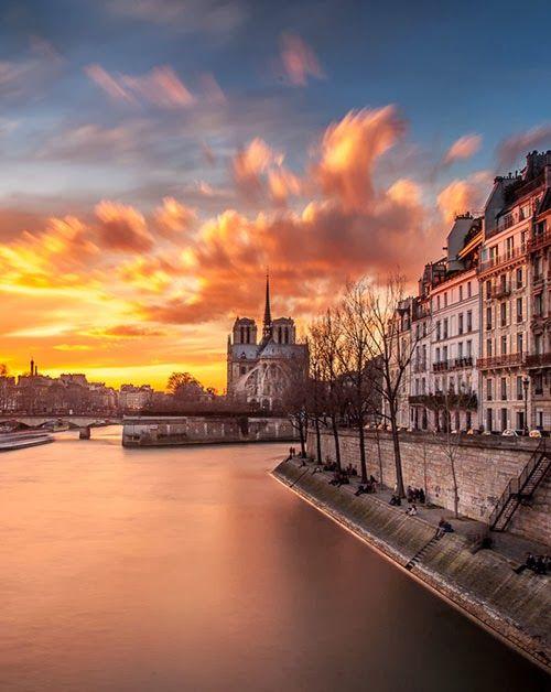 Notre-Dame Cathedral Across River Seine, Paris France