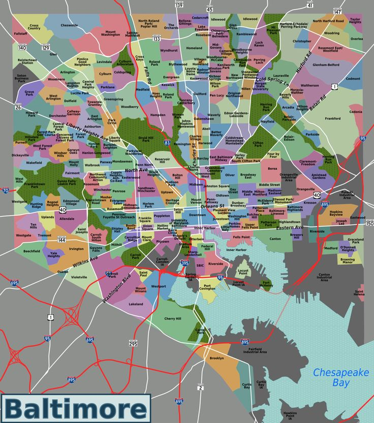 A map of Baltimore with the official