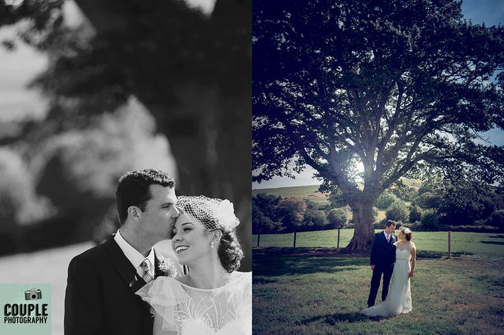 Rural setting. Couple photographed within the grounds of the family home surrounded by beautiful trees. Irish Marquee wedding photographed by Couple Photography.