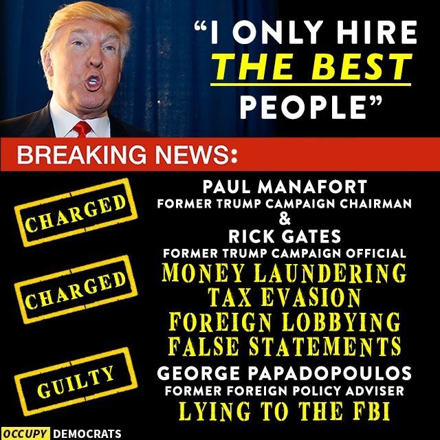 """Trump, Mr. """"Extreme Vetting"""" himself, not only didn't vet his people, he ignored clear warnings from numerous people. Or maybe he did vet them, and his definition of """"the best people"""" means they're the best at winning at all costs, at getting Trump what he wants by any means necessary, the best at being crooks, which would make sense since he's always chosen lawyers who can find ways to circumvent the law, exploit the loopholes, bend it almost beyond recognition. People of conscious just…"""