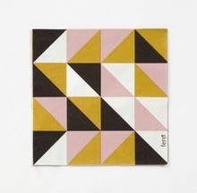 paper napkin as quilt inspiration!  great color combo.  pink//mustard///charcoal
