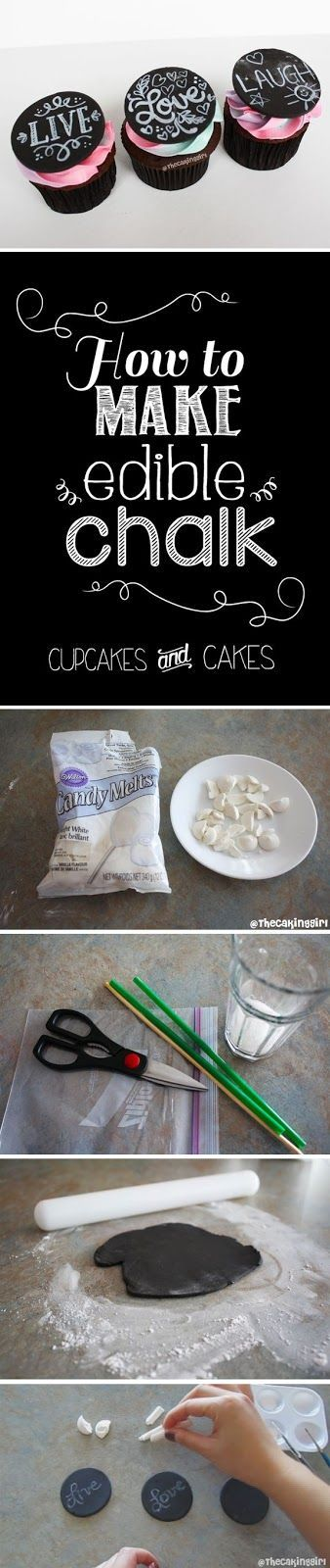 How to make edible chalk - chalk cupcake designs - chalk cake designs. With wilton candy and edible food coloring. Step by step instructions tutorial guide. Fondant/Gumpaste. www.thecakinggirl.ca