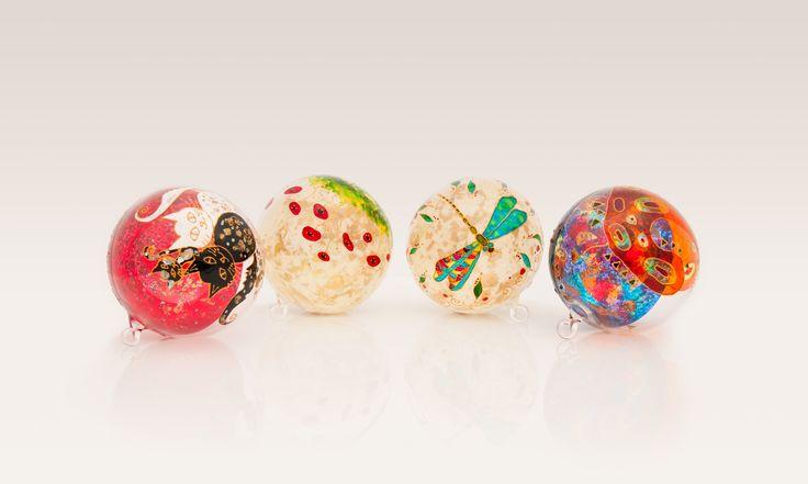 Hand painted Christmas balls.