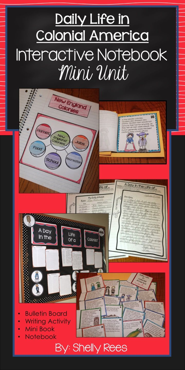 Colonial America Daily Life Interactive Notebook, Mini Book, Writing Activity, and Bulletin Board. What a fun way to learn about Colonial America!