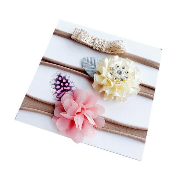 BalleenShiny 3 Pcs/lot Baby Girls Artificial Flower Headband Suit Fashion Princess Infant Newborn Hairband Photography Tool Gift