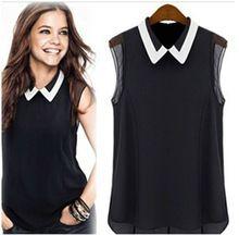 Hot Sale 2015 Women Spring Summer Brand Chiffon Blouse Vest Shirts Turn Down Collar Fashion Sleeveless Blusas Femininas