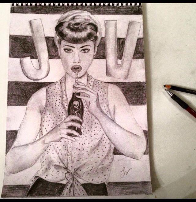 Pin up girl - pencil - drawing - fashion