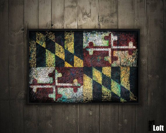 Hand-Painted Flag of Maryland State-Distressed by ArtForLoft