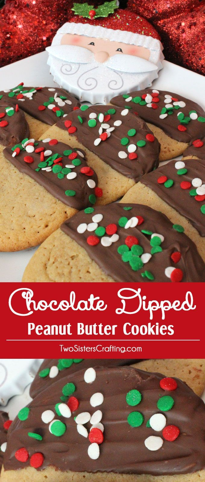 Our Chocolate Dipped Peanut Butter Christmas Cookies are super delicious, very easy to make and make a great Holiday Cookie. This yummy Christmas Dessert would also be a big hit at a Christmas Cookie Exchange. Pin this great Christmas Treat for later and follow us for more great Christmas Food ideas.