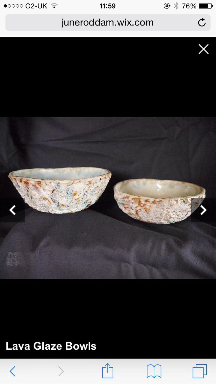 Lava glaze bowls  http://juneroddam.wix.com/juneroddamceramics