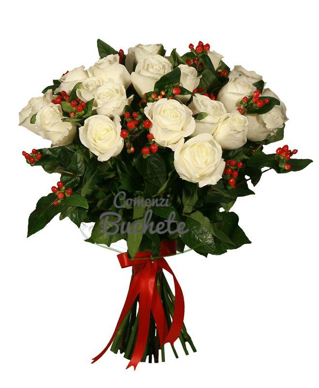 Buchet de 25 trandafiri albi Tibet, trandafiri de Ecuador. Cochet si luminos, te face sa zambesti!