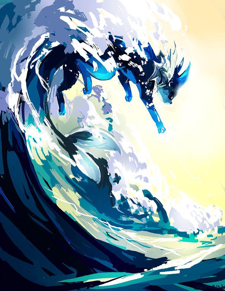 Vaporeon   Si è evoluto per adattarsi alla vita acquatica. Si può sciogliere nell'acqua diventando invisibile.
