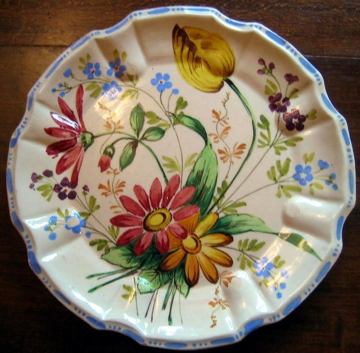 Decorative Dishes - OLD Rustic Handpainted Made in Italy Daisy Tulip Flute Edge Plate $19.99 & 121 best Italian Made in Italy Decorative Dishes images on Pinterest ...