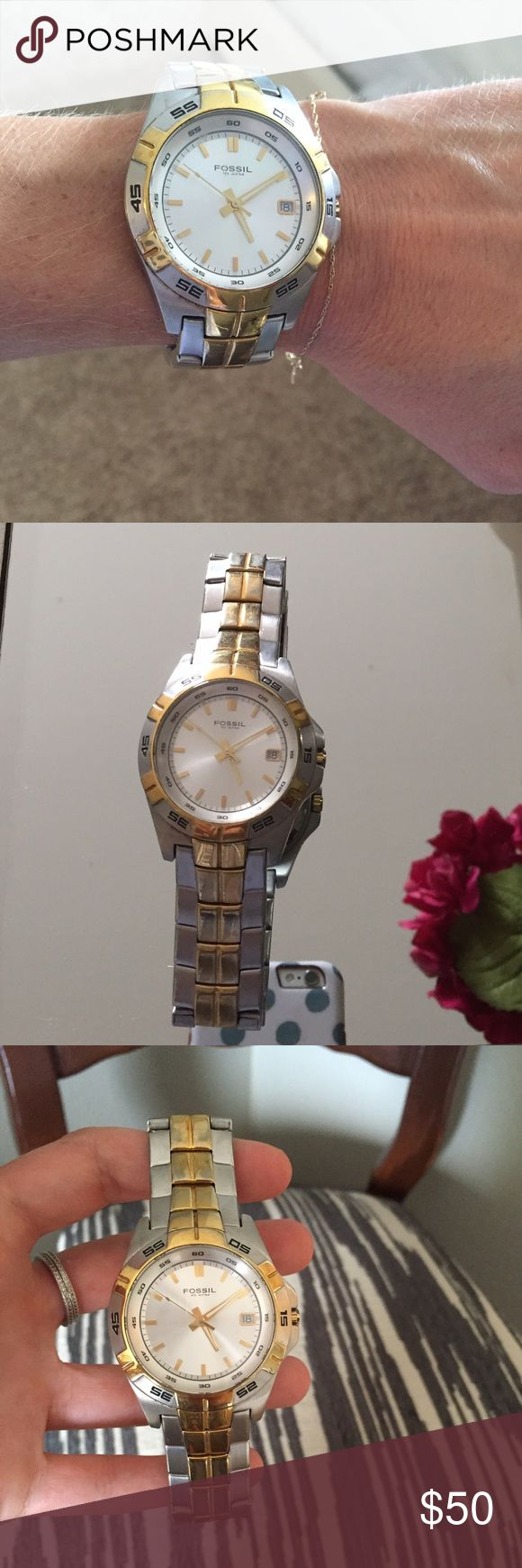 """Fossil two tone watch! Fossil two tone """"boyfriend"""" watch! Gently worn but in great condition! Fossil Other"""
