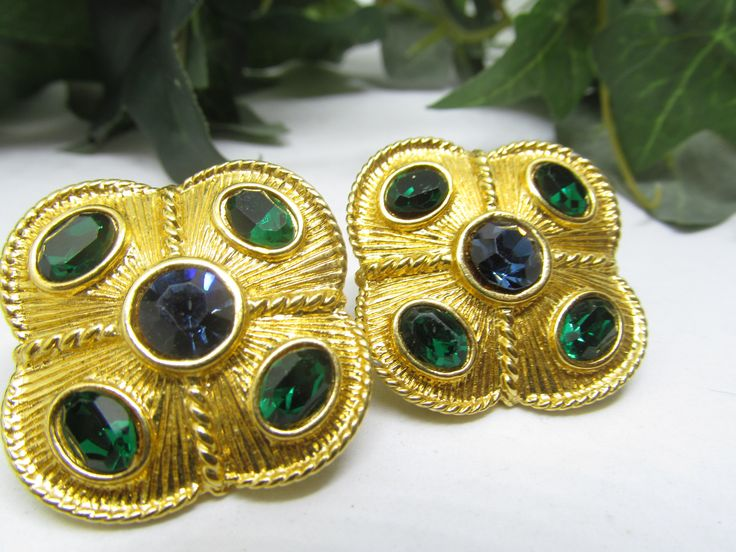 Napier Earrings Lever Back Screw On Earrings Square Shaped Blue & Green Rhinestone Earring  Beautiful  Chunky Earrings Bright Gold tone Base