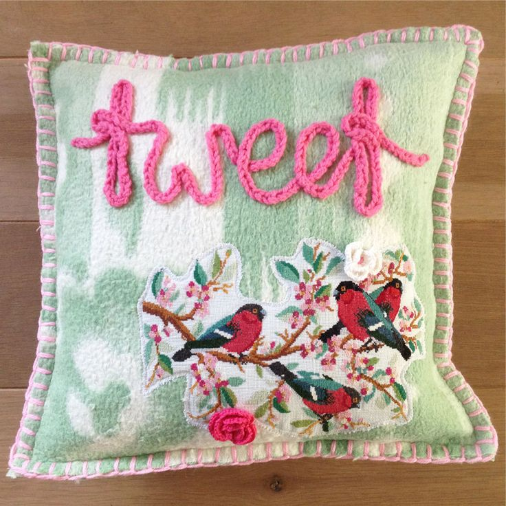 "Pillow from woolen blankets, handmade, ""Tweet"" by Beaudeco on Etsy"
