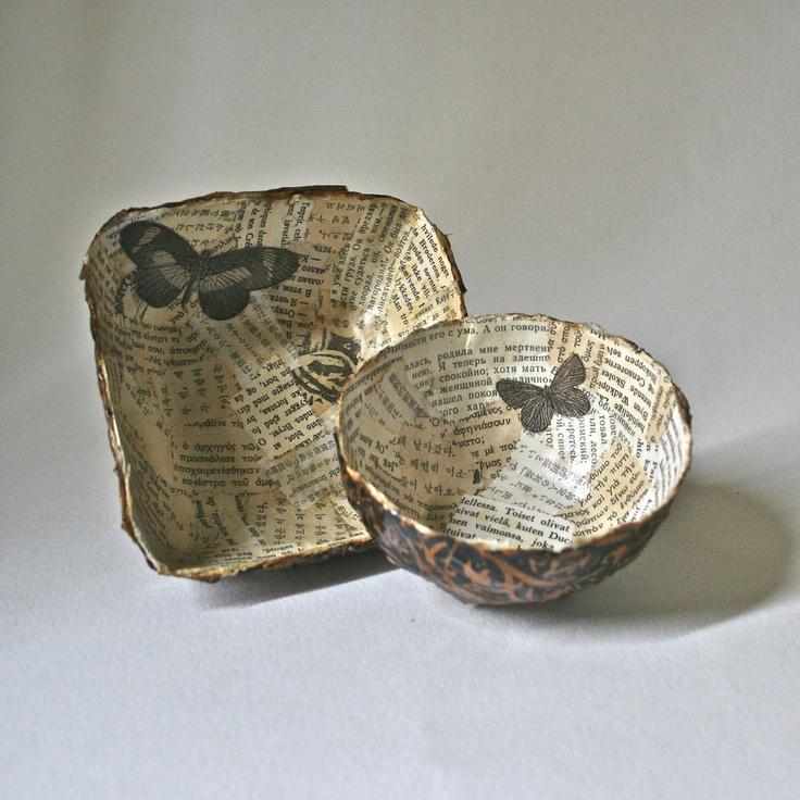 Paper Mache Bowls - set of Two, Vintage Papers. $30.00, via Etsy.