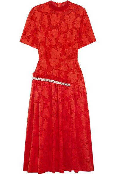 Mother of Pearl - Twilla Embellished Burnout Cotton Midi Dress - Red - UK14