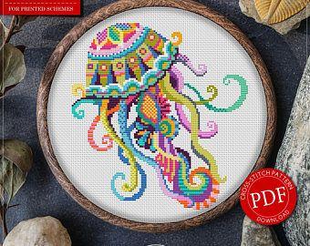 Cross Stitch Pattern Mandala Jellyfish for Instant Download - 239| Jellyfish Cross-Stitch| Mandala Cross-Stitch| Counted Cross-Stitch