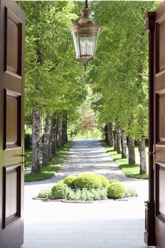 I love the trees on each side of the driveway