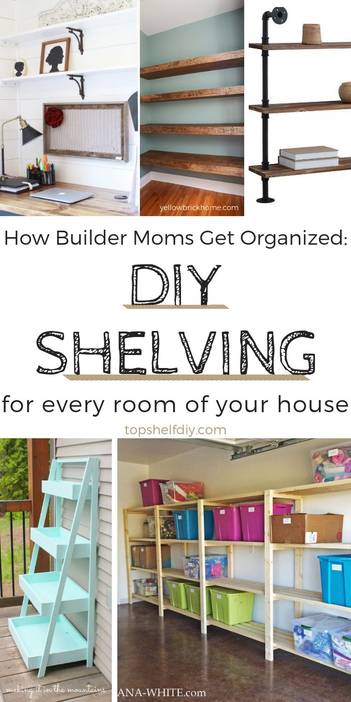 DIY Woodworking Ideas From the bathroom to the garage, there's always room for more shelves. #organiza...