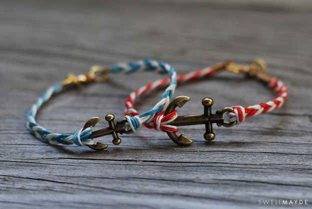 An anchor charm adds a nautical touch to a standard friendship bracelet.