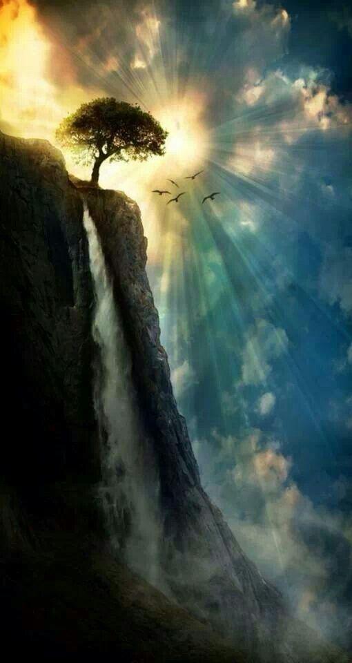 Sun, waterfall and tree with phenomenal sky