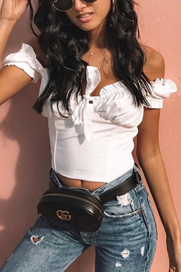 f18d9943053f Women Tied Off Shoulder Short Sleeve Ruffles Trim Sexy Crop Top - Black, S