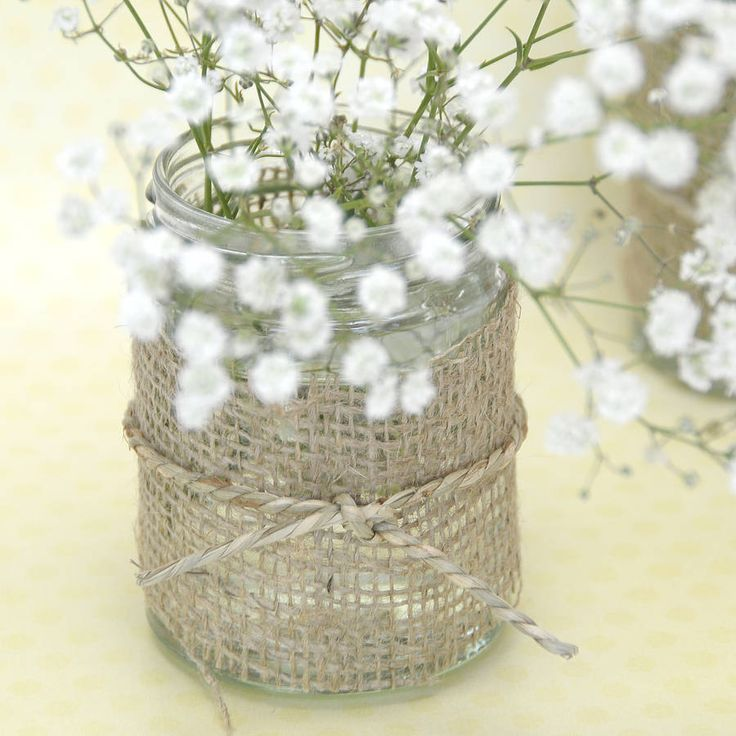 Hessian jar with Gypsophilia, really simple but so pretty, maybe girls could have that?