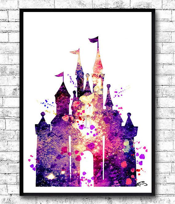 Disney Castle Watercolor Print Disney paintingDisney by ArtsPrint