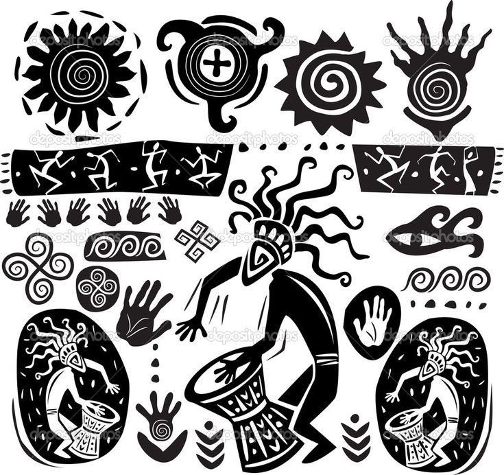 Conjunto de elementos en el estilo del arte primitivo