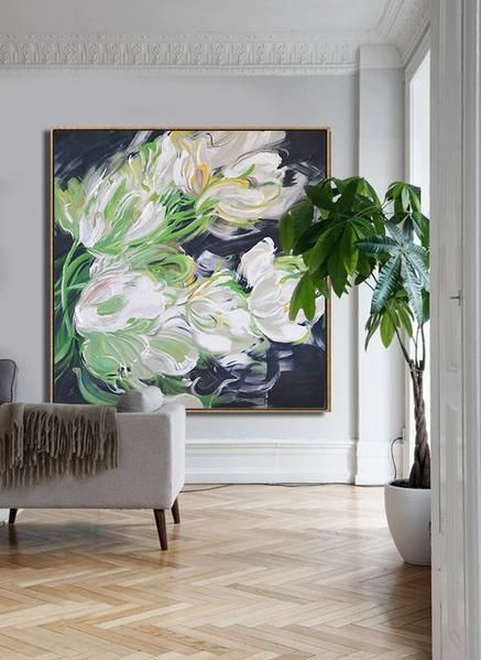 CZ Art Design - Hand painted oversized Abstract Flower Oil Painting on canvas, Floral art. @CelineZiangArt