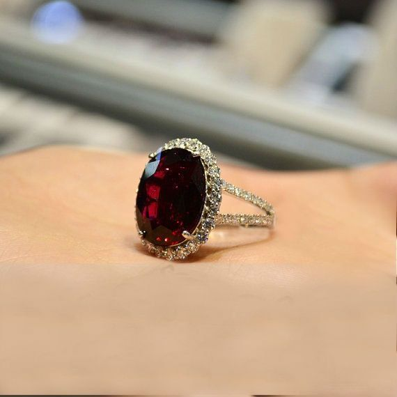 deep red diamond wedding ring