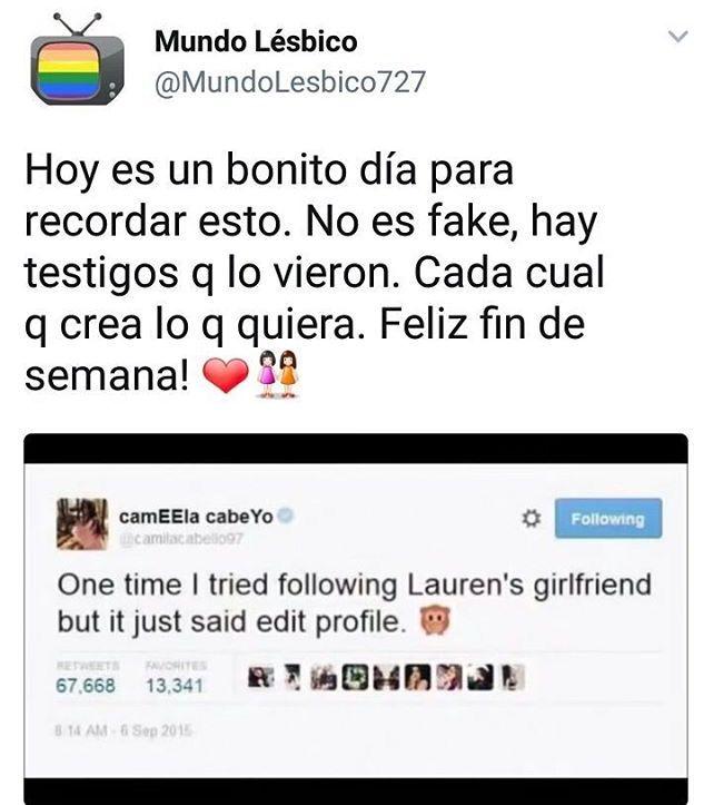 """El tweet de Camila decía: una vez quise seguir a la novia de Lauren pero solo me decia """"editar perfil"""".  O algo por el estilo XD"""