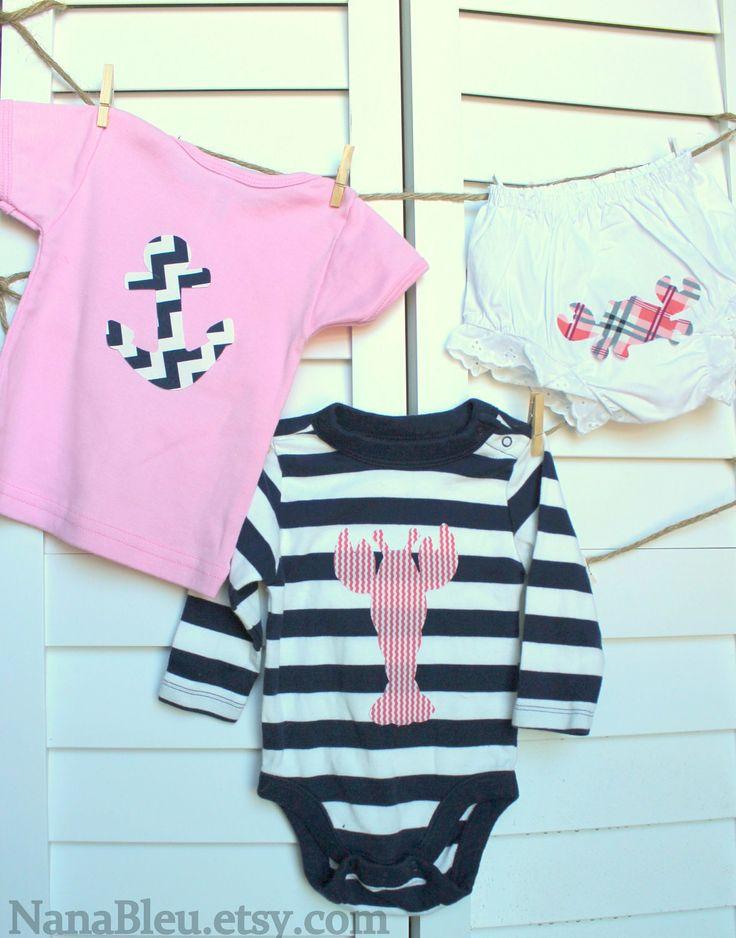 FREE SHIPPING - Set of 10 Preppy Nautical Coastal theme iron on shapes for girl baby shower, bodysuit decorating or decor. $23.00, via Etsy.