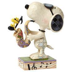 Jim Shore® Peanuts® Woodstock and Snoopy Joe Cool Saxophone Figurine - Figurines - Hallmark