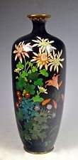 ANTIQUE DETAILED COLORFUL FINE SILVER WIRE JAPANESE MEIJI CLOISONNE VASE