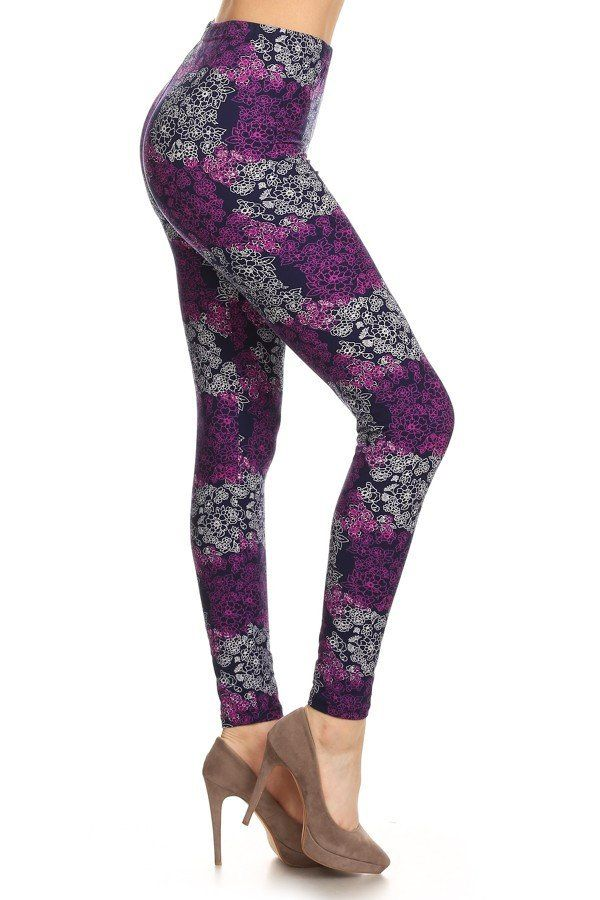 Iris - navy blue and purple legging with white floral print