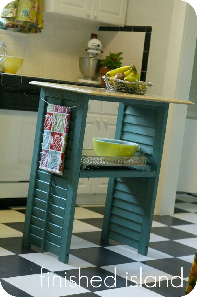 Mini kitchen island made from thrifted window shutters. But could we do something like this for a bookshelf in the family room?