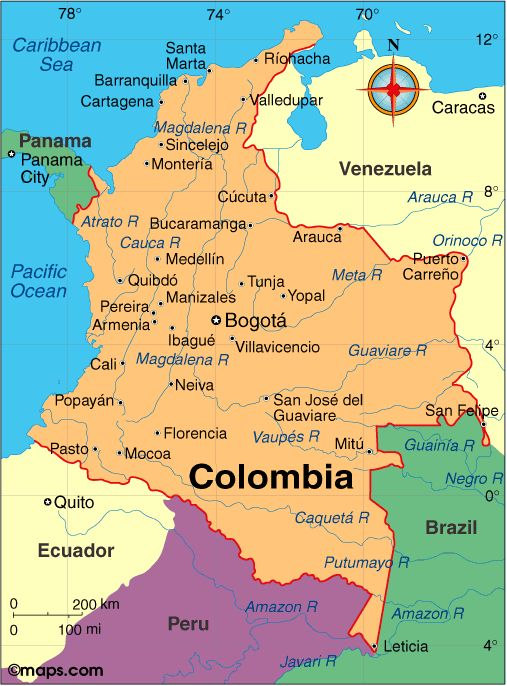 Mapa político . COLOMBIA  Land area: 401,042 sq mi (1,038,699 sq km); total area: 439,736 sq mi (1,138,910 sq km)  Population (2014 est.): 46,245,297 (growth rate: 1.07%); birth rate: 16.73/1000; infant mortality rate: 15.02/1000; life expectancy: 75.25  Capital and largest city (2011 est.): Santafé de Bogotá, 8.743 million  Other large cities: Medellín, 3,497,800; Cali, 2,352,000; Barranquilla, 1,836,000; Bucaramanga 1,065,000  Monetary unit: Colombian Peso