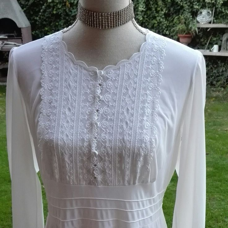 Camicia da notte shabby chic vintage bianca wedding sposa ricamata