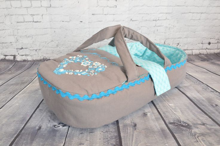 READY TO SHIP - doll bed, carrier, bassinet - waldorf toy - personalized - only for dolls - grey blue - hand embroidered by BagitKid on Etsy
