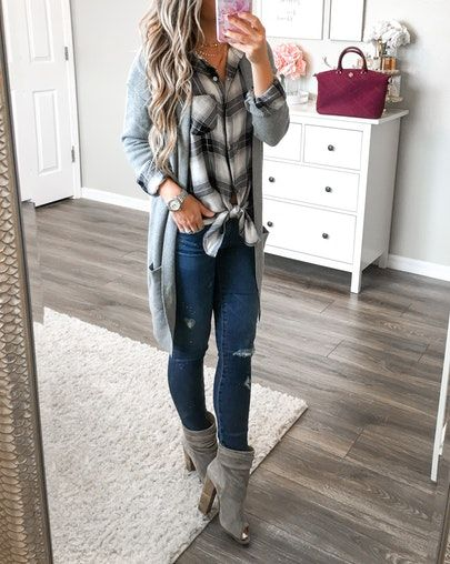 Cozy fall outfit. Plaid shirt, long cardigan & peep toe booties