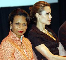 UNHCR Goodwill Ambassador Angelina Jolie and US Secretary of State Condoleezza Rice attending World Refugee Day 2005 activities