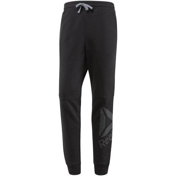 Reebok Workout Ready Big Logo Cotton Pant ($40) ❤ liked on Polyvore featuring men's fashion, men's clothing, men's activewear, men's activewear pants, apparel, black, men, mens activewear and mens activewear pants