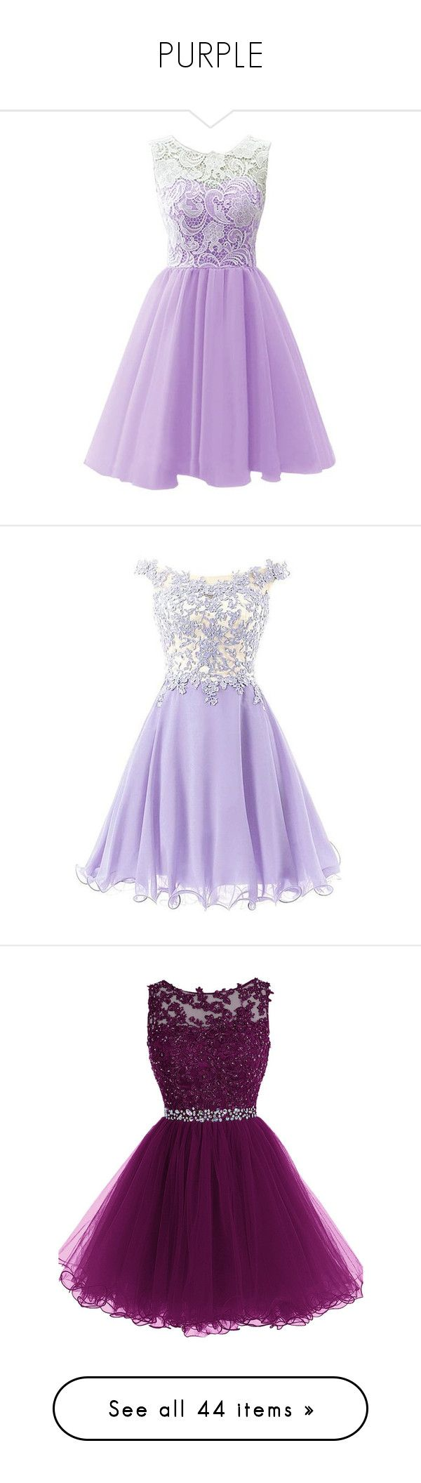 """PURPLE"" by rngriffis02 ❤ liked on Polyvore featuring dresses, gowns, purple, robes, purple lace dress, bridesmaid dresses, lace prom dresses, purple evening gowns, purple prom dresses and vestidos curto"