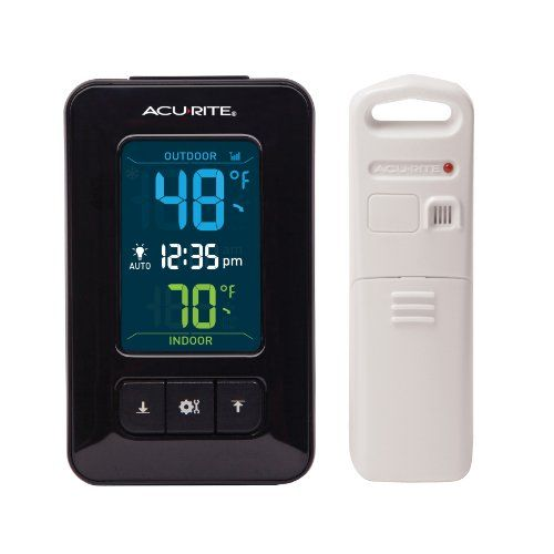 The AcuRite Color Digital Indoor/Outdoor Thermometer With Clock Features  Precise, Reliable